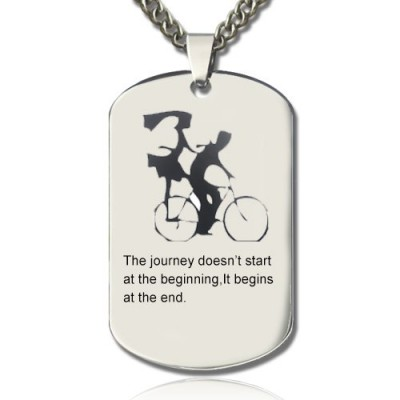 Couple Bicycle Dog Tag Name Necklace - Crafted By Birthstone Design™