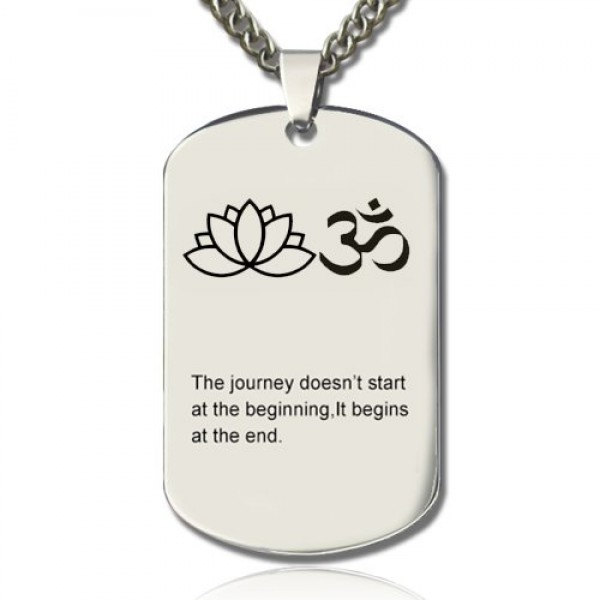 Yoga Theme,Lotus Flower Name Dog Tag Necklace - Crafted By Birthstone Design™