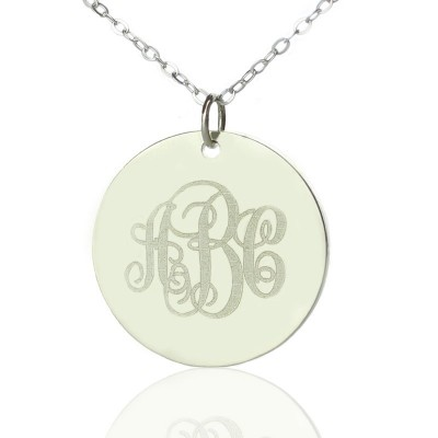 Solid White Gold Vine Font Disc Engraved Monogram Necklace - Crafted By Birthstone Design™