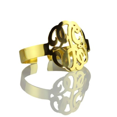 Hand Drawing Monogram Initial Bracelet 1.6 Inch Gold Plated - Crafted By Birthstone Design™