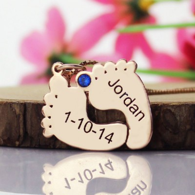 Engraved Baby Feet Imprint Necklace with Date Name 18ct Rose Gold Plated - Crafted By Birthstone Design™