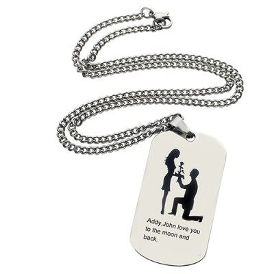 Marriage Proposal Dog Tag Name Necklace - Crafted By Birthstone Design™