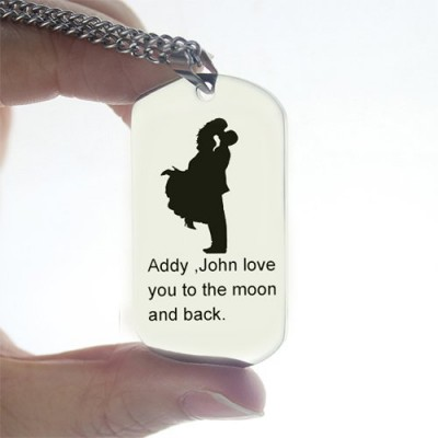 Faill In Love Couple Name Dog Tag Necklace - Crafted By Birthstone Design™