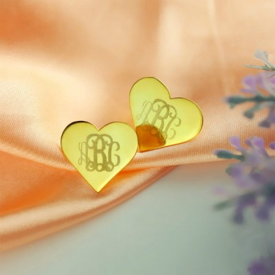Heart Monogram Stud Earrings In Gold - Crafted By Birthstone Design™