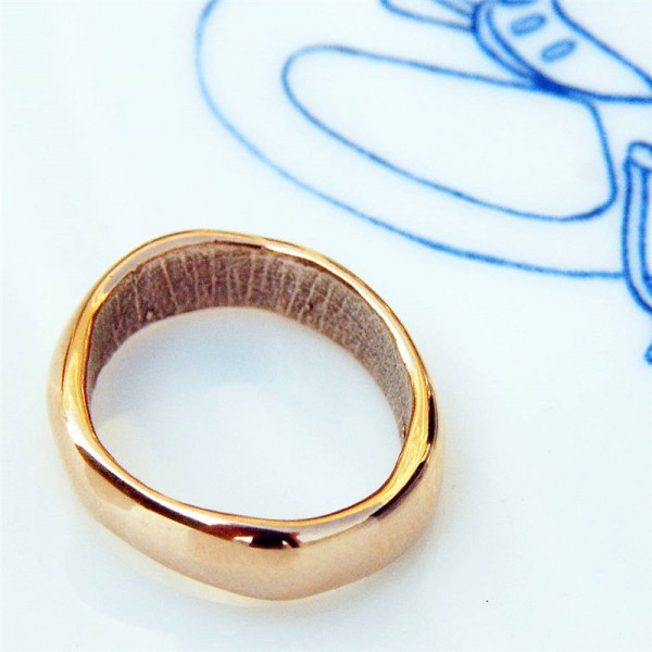 18ct Rose Gold Bespoke Fingerprint Wedding Ring - Crafted By Birthstone Design™