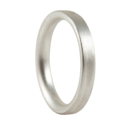 3mm Brushed Matte Flat Court Silver Wedding Ring - Crafted By Birthstone Design™