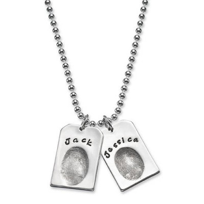 Personalised Fingerprint Silver Dog Tags - Crafted By Birthstone Design™