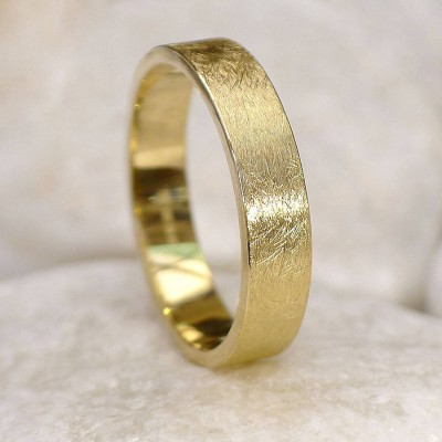 Mens Wedding Ring In 18ct Gold, Urban Finish - Crafted By Birthstone Design™