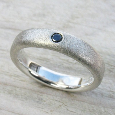 Mens Handmade Black Diamond Silver Ring - Crafted By Birthstone Design™