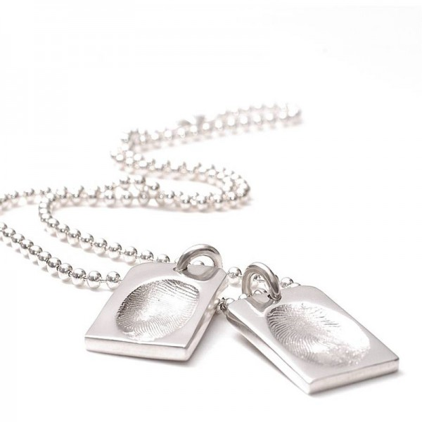 Fingerprint Dog Tag On A Ball Chain - Crafted By Birthstone Design™