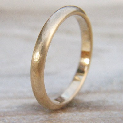 3mm Hammered Wedding Ring In 18ct Gold - Crafted By Birthstone Design™