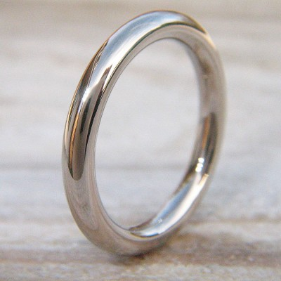 Mens Wedding Ring In 18ct White Gold - Crafted By Birthstone Design™