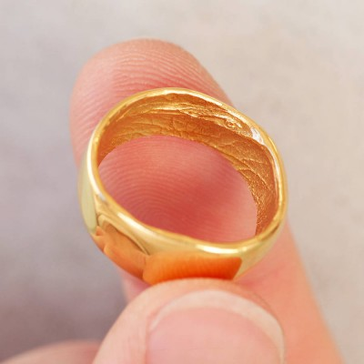 18ct Yellow Gold Bespoke Fingerprint Ring - Crafted By Birthstone Design™