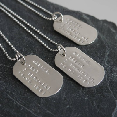 Personalised Solid Silver Identity Dog Tags - Crafted By Birthstone Design™