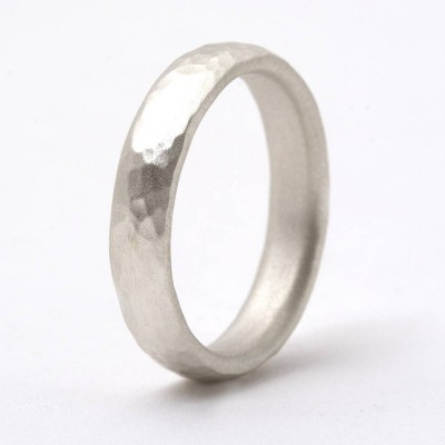 Thin Sterling Silver Hammered Ring - Crafted By Birthstone Design™