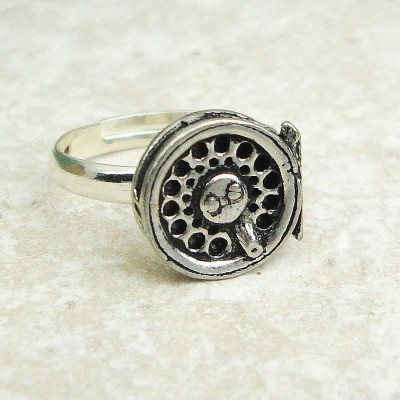 Fly Fishing Reel Ring Antiqued Pewter - Crafted By Birthstone Design™
