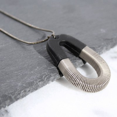Bert Black Silver Spring Pendant - Crafted By Birthstone Design™