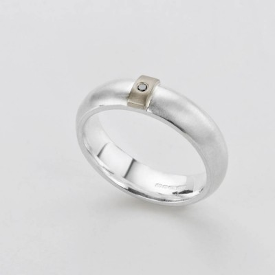 Black Diamond Linear Ring - Crafted By Birthstone Design™