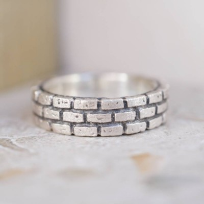 Brick Silver Ring - Crafted By Birthstone Design™