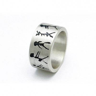 Capivara Cave Art Sterling Silver Band Ring - Crafted By Birthstone Design™