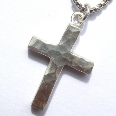 Chunky Hammered Silver Cross Necklace - Crafted By Birthstone Design™