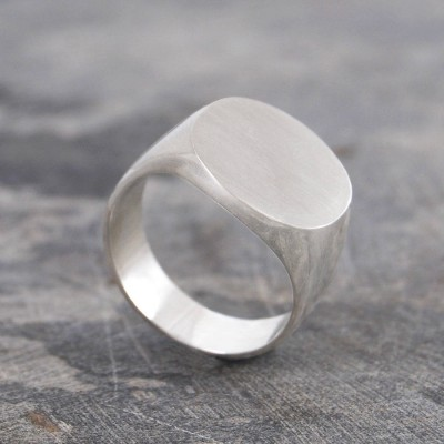 Mens Solid Silver/Gold Circular Signet Ring - Crafted By Birthstone Design™