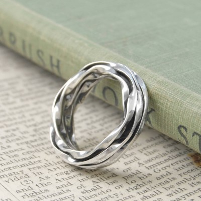 Chunky Mens Silver Oxidised Wrap Ring - Crafted By Birthstone Design™