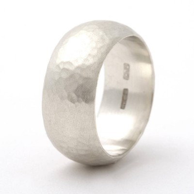 Chunky Sterling Silver Rounded Hammered Ring - Crafted By Birthstone Design™