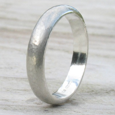 Handmade Sterling Silver Hammered Ring - Crafted By Birthstone Design™