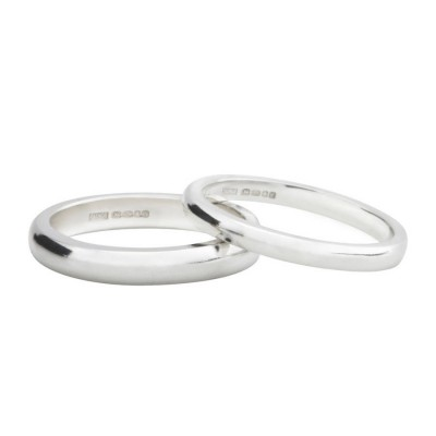 Sterling Silver D Shape Wedding Band - Crafted By Birthstone Design™