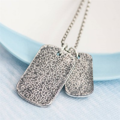 Dog Tag With Baby Prints And Birth Info Necklace - Two Pendants - Crafted By Birthstone Design™