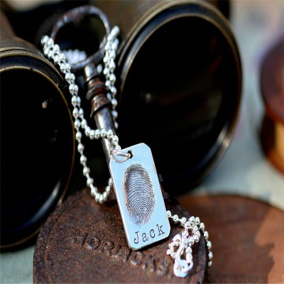 Fingerprint Tag Mens Chain - Crafted By Birthstone Design™