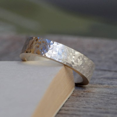 Personalised Textured Wedding Band In Sterling Silver - Crafted By Birthstone Design™