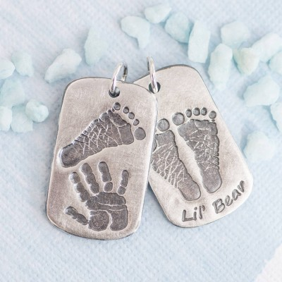 Footprint Handprint Personalised Mens Dog Tag Necklace - Two Pendants - Crafted By Birthstone Design™