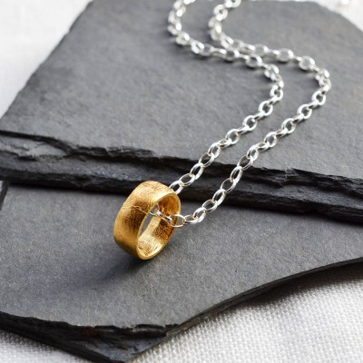 Gold Plated Meteorite Ring Necklace - Crafted By Birthstone Design™