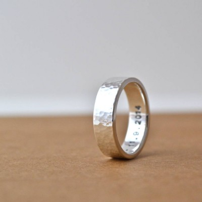 Hammered Silver Hidden Message Ring - Crafted By Birthstone Design™
