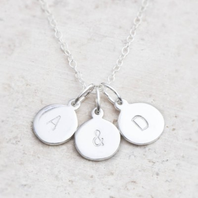 Hand Stamped Silver Personalised Charm Necklace - Crafted By Birthstone Design™