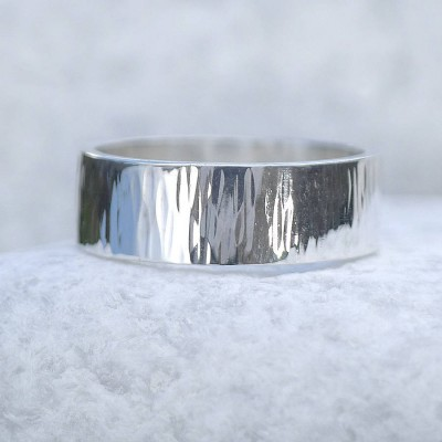 Hammered Silver Ring With Tree Bark Finish - Crafted By Birthstone Design™