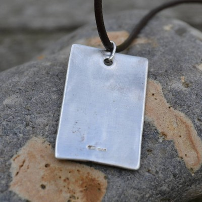 Handmade Silver Dog Tag Necklace - Crafted By Birthstone Design™