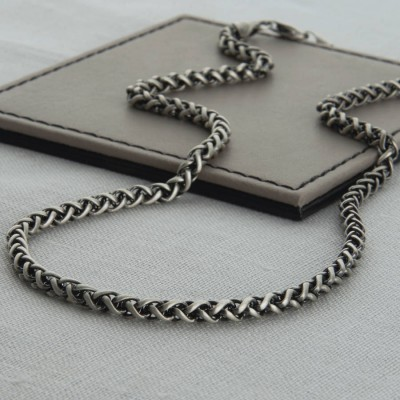 Heavy Sterling Silver Detailed Chain Necklace - Crafted By Birthstone Design™