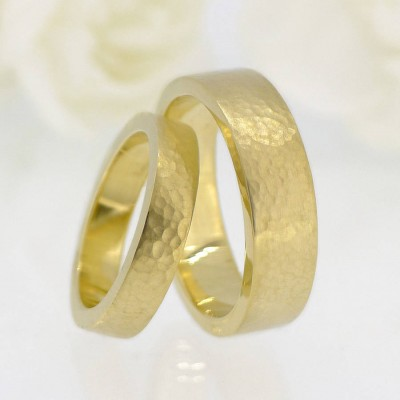 His And Hers Hammered Wedding Ring 18ct Gold Set - Crafted By Birthstone Design™