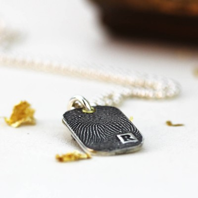 Inked Fingerprint Dog Tag Necklace - Crafted By Birthstone Design™
