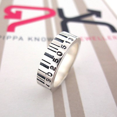 Medium Silver Barcode Ring - Crafted By Birthstone Design™