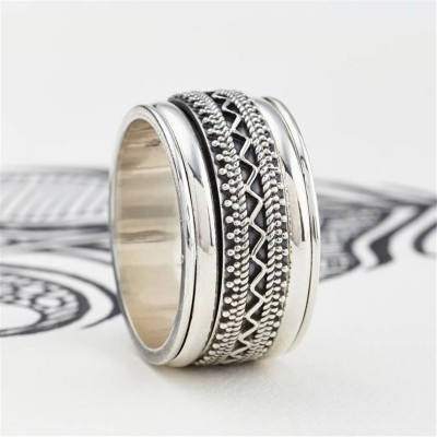 Mens Chunky Tribal Spinning Ring - Crafted By Birthstone Design™