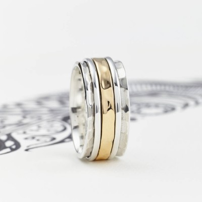 Mens Karma Bronze And Silver Spinning Ring - Crafted By Birthstone Design™