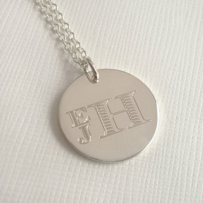 Mens Engraved Monogram Stacked Necklace - Crafted By Birthstone Design™