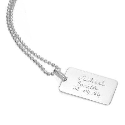 Mens Personalised Dog Tag Chain Necklace - Crafted By Birthstone Design™