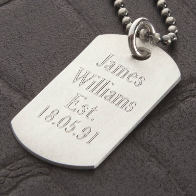 Personalised Sterling Silver Karma Dog Tag Necklace - Crafted By Birthstone Design™