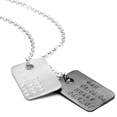 Mens Personalised Silver Tag Necklace - Crafted By Birthstone Design™