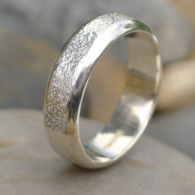 Mens Silver Ring With Concrete Texture - Crafted By Birthstone Design™